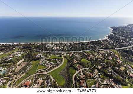 Aerial view of large pacific ocean view homes and estates in Malibu California.