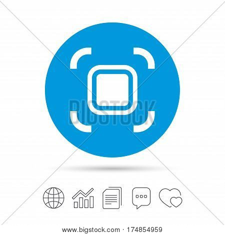 Autofocus zone sign icon. Photo camera settings. Copy files, chat speech bubble and chart web icons. Vector
