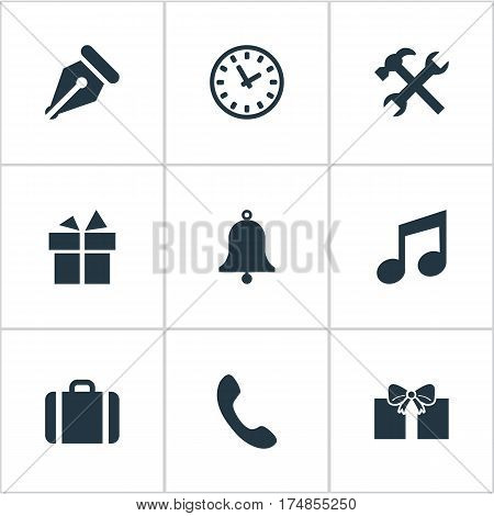 Vector Illustration Set Of Simple Accessories Icons. Elements Repair, Time, Ring And Other Synonyms Suitcase, Bell And Music.