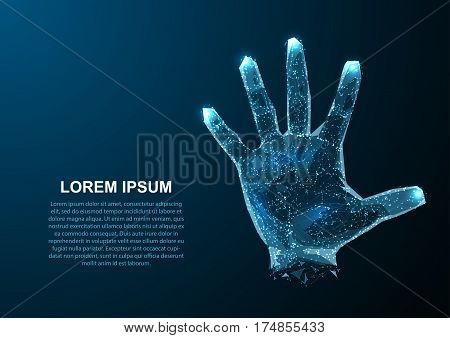 Hologram hands of lines and points. Scanning fingers. Personal identification. Vector illustration