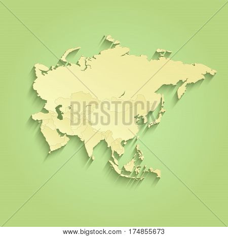 Asia map separate individual states green yellow raster
