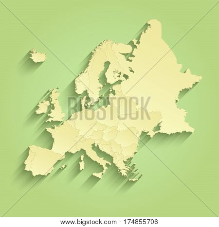 Europe map separate individual states green yellow raster