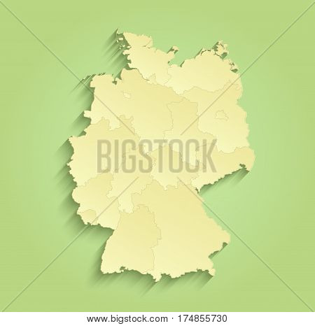 Germany map separate individual states green yellow raster