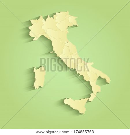Italy map separate individual states green yellow raster