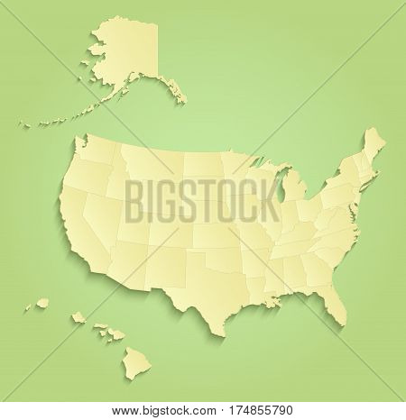 USA with Alaska and Hawaii map separate individual states green yellow raster