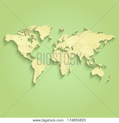 World map separate individual states green yellow, political map raster