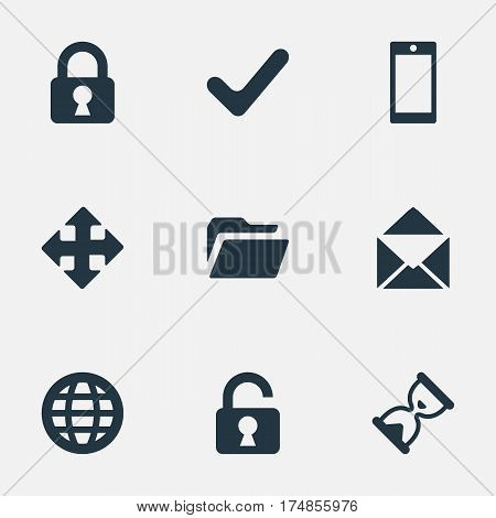 Vector Illustration Set Of Simple Practice Icons. Elements Check, Lock, Smartphone And Other Synonyms Cellphone, Okay And Lock.