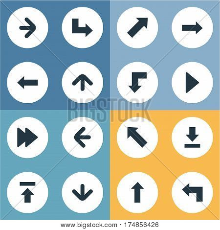 Vector Illustration Set Of Simple Indicator Icons. Elements Upward Direction, Pointer, Advanced And Other Synonyms Decline, Download And Upper.