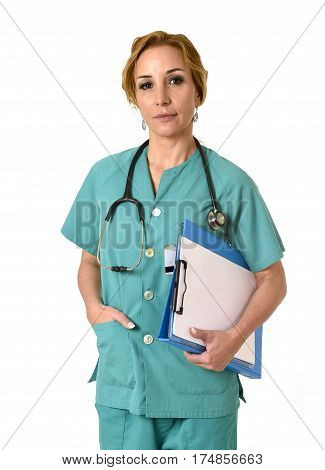corporate portrait of beautiful woman md emergency doctor or nurse posing serious with stethoscope in health care and hospital clinic work staff concept isolated background