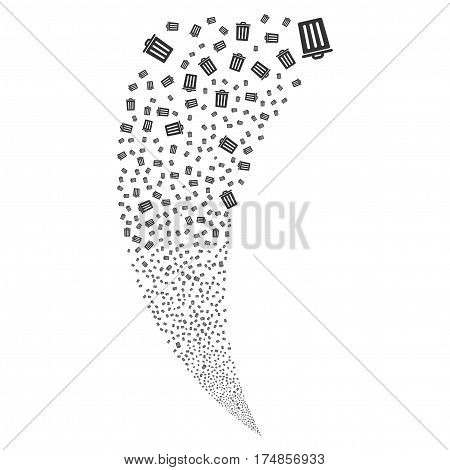 Dustbin random fireworks stream. Vector illustration style is flat gray iconic symbols on a white background. Object fountain done from scattered icons.
