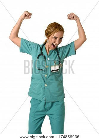 corporate portrait of happy woman md emergency doctor or nurse posing smiling cheerful with stethoscope showing biceps strength and resistance for hard health care work in hospital clinic concept