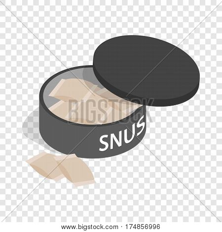 Swedish snus, chewing tobacco isometric icon 3d on a transparent background vector illustration