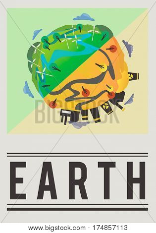 World earth geography graphic illustration