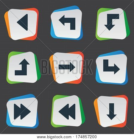 Vector Illustration Set Of Simple Cursor Icons. Elements Advanced, Downwards Pointing, Reduction And Other Synonyms Decline, Advanced And Arrow.