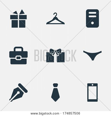 Vector Illustration Set Of Simple Instrument Icons. Elements Business Bag, System Unit, Mobile Phone And Other Synonyms Handbag, Underpants And Gift.