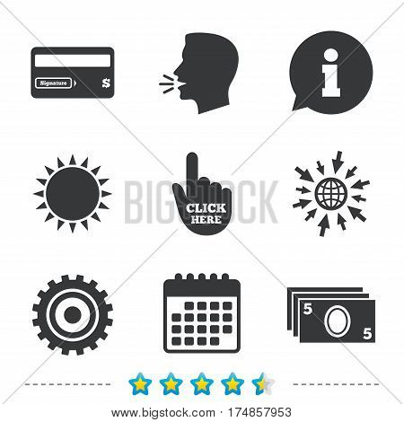 ATM cash machine withdrawal icons. Insert bank card, click here and check PIN, processing and get cash symbols. Information, go to web and calendar icons. Sun and loud speak symbol. Vector
