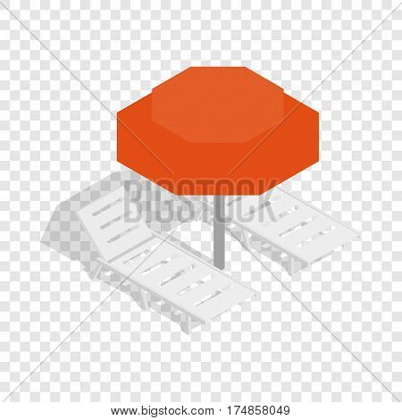 Beach umbrella and two beach chairs isometric icon 3d on a transparent background vector illustration