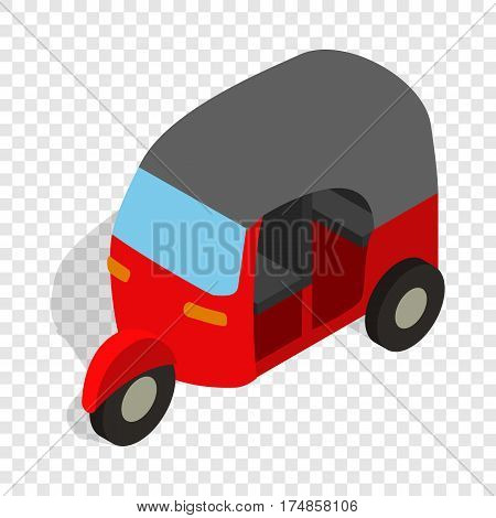 Red tuk tuk isometric icon 3d on a transparent background vector illustration