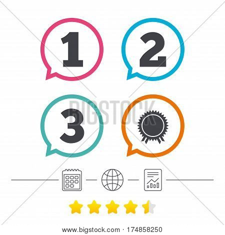 First, second and third place icons. Award medal sign symbol. Calendar, internet globe and report linear icons. Star vote ranking. Vector
