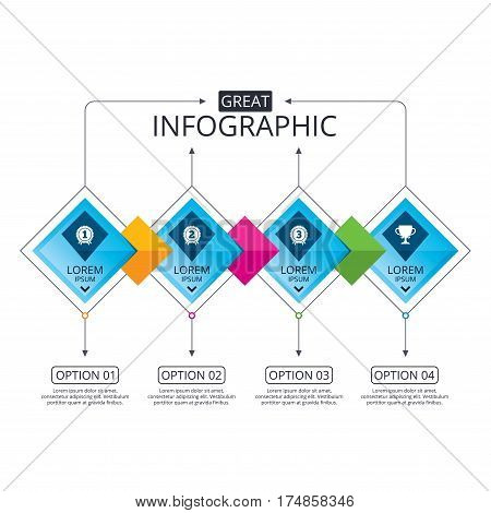 Infographic flowchart template. Business diagram with options. First, second and third place icons. Award medals sign symbols. Prize cup for winner. Timeline steps. Vector