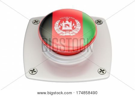 Afghanistan flag push button 3D rendering isolated on white background