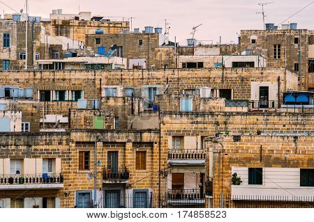 Urban view to Cospicua Malta, residental buildings