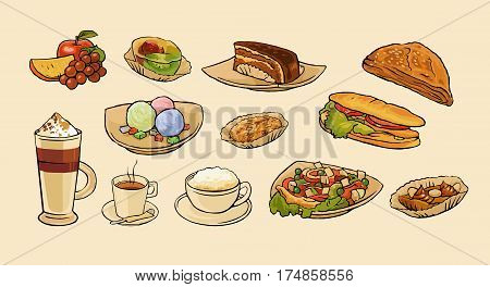 Set food and coffee drink for cafe menu. Salad sandwich faple grape orange cake cappuccino latte and ice cream.Vector flat vintage color illustration isolated on beige background