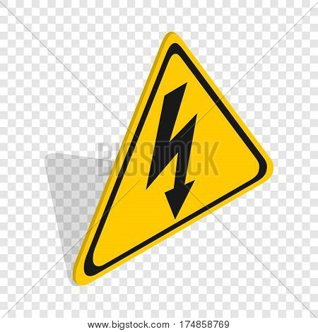 High voltage sign isometric icon 3d on a transparent background vector illustration