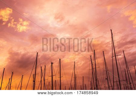 Pink evening in marina masts in the sky Malta