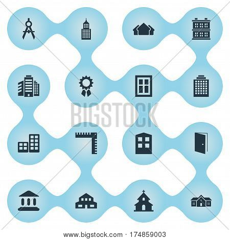 Vector Illustration Set Of Simple Architecture Icons. Elements Block, Glazing, Booth And Other Synonyms Construction, Architecture And Scale.