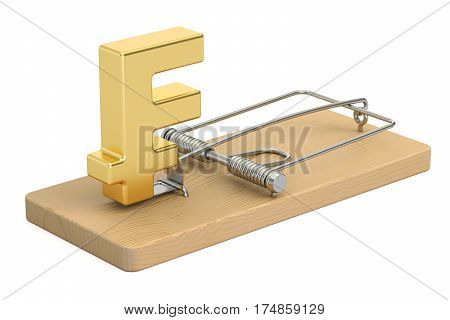 mousetrap with franc sign 3D rendering isolated on white background