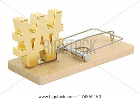 mousetrap with symbol of won 3D rendering