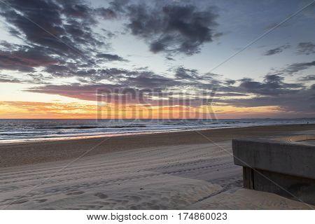 Colourful beach sunrise at Surfers Paradise, Gold Coast.