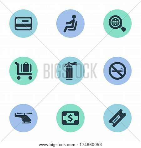 Vector Illustration Set Of Simple Travel Icons. Elements Currency, Credit Card, Global Research And Other Synonyms Sitting, Ticket And Dollar.