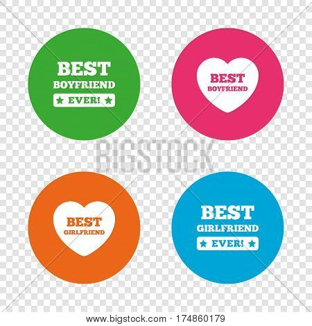 Best boyfriend and girlfriend icons. Heart love signs. Award symbol. Round buttons on transparent background. Vector