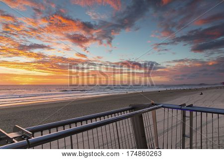 Colourful beach sunrise at Surfers Paradise, Gold Coast