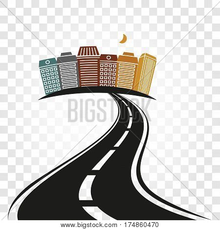 Isolated abstract empty highway with dividing marking and colorful cityscape on checkered background vector illustration