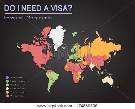 Visas Information For Former Yugoslav Republic Of Macedonia Passport Holders. Year 2017. World Map I