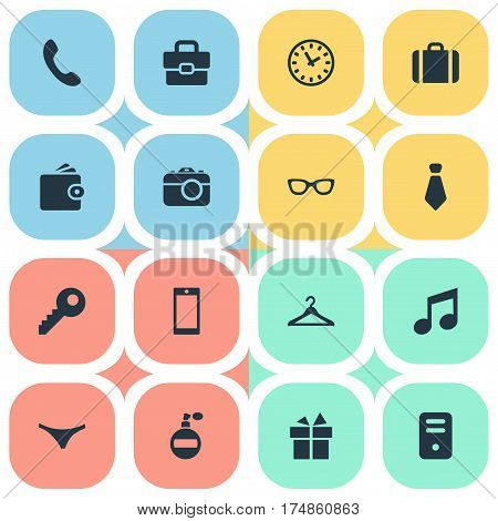 Vector Illustration Set Of Simple  Icons. Elements Call Button, Eyeglasses, Time And Other Synonyms Clothes, Handbag And Panties.