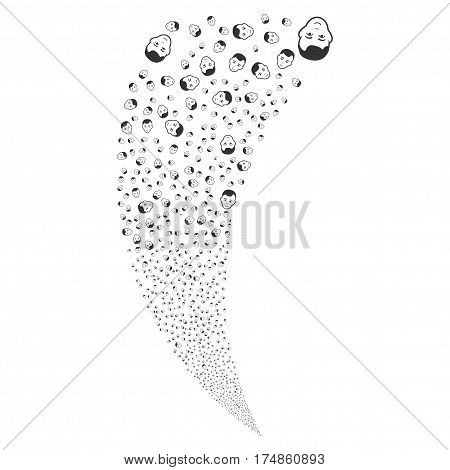 Man Head random fireworks stream. Vector illustration style is flat gray iconic symbols on a white background. Object fountain created from scattered pictograms.