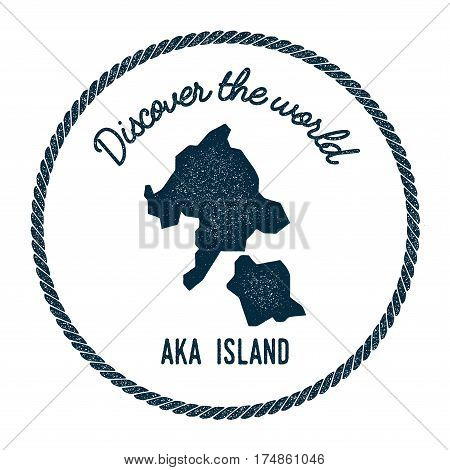 Aka Island Map In Vintage Discover The World Insignia. Hipster Style Nautical Postage Stamp, With Ro