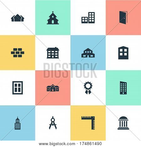 Vector Illustration Set Of Simple Structure Icons. Elements Academy, Stone, Residential And Other Synonyms Flat, Reward And Shelter.