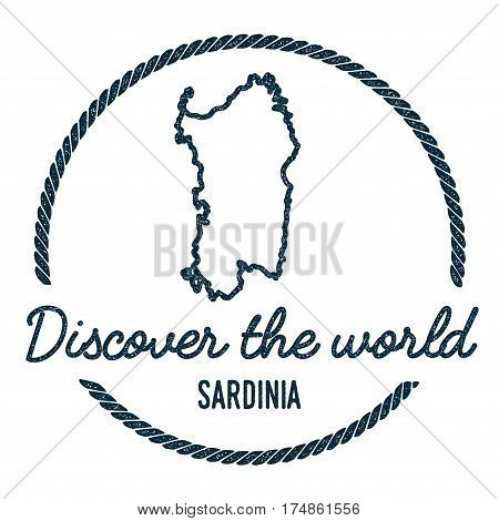 Sardinia Map Outline. Vintage Discover The World Rubber Stamp With Island Map. Hipster Style Nautica