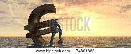 Conceptual 3D illustration currency euro symbol sinking in sea, ocean water with business man, sunset concept to European crisis banner