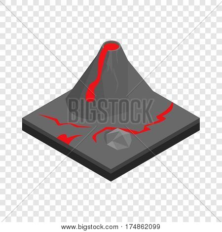 Volcano landscape isometric icon 3d on a transparent background vector illustration