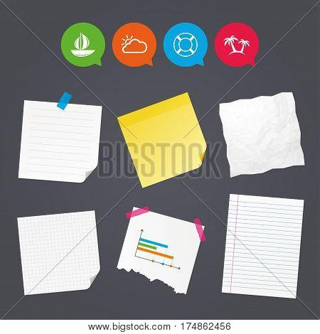 Business paper banners with notes. Travel icons. Sail boat with lifebuoy symbols. Cloud with sun weather sign. Palm tree. Sticky colorful tape. Speech bubbles with icons. Vector