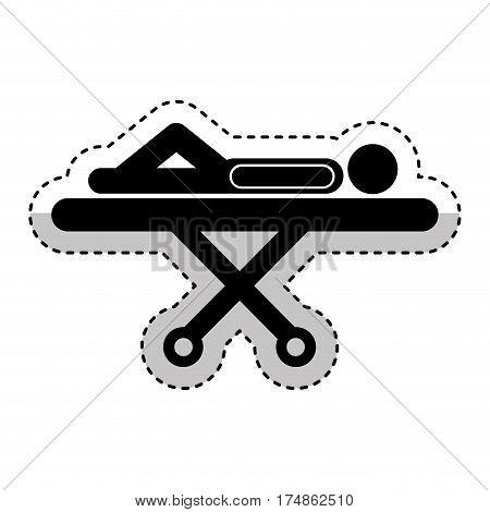 sick person in stretcher silhouette vector illustration design