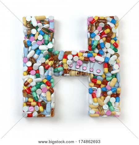 Letter H. Set of alphabet of medicine pills, capsules, tablets and blisters isolated on white. 3d illustration