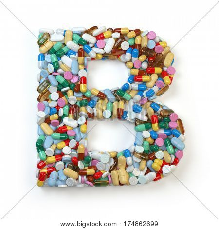 Letter B. Set of alphabet of medicine pills, capsules, tablets and blisters isolated on white. 3d illustration