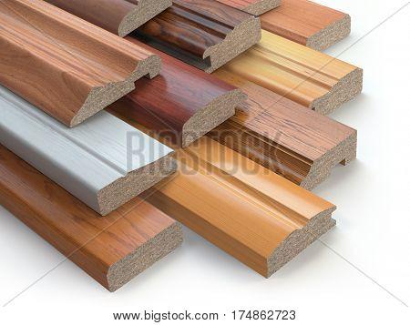 Samples of wooden furniture MDF profiles, Different medium density fiberboards. 3d illustration